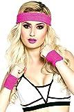 krautwear Damen Mädchen Schweißbänder Stirnband 2 Armbänder Beinstulpen Handschuhe 80er Jahre Set Neon Pink (Schweißbänder Set)