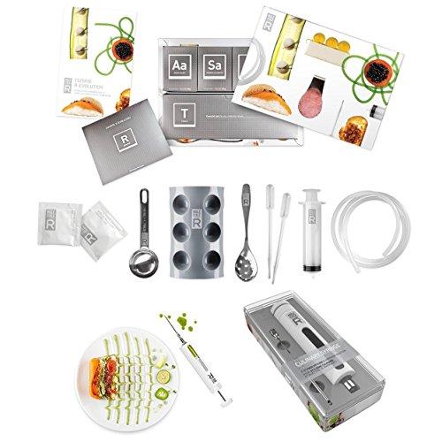 Molecule-R Culinary Combo Cuisine Molecular Gastronomy Kit Cuisine R-Evolution Molekularküche Basisset Komplettset Für Einsteiger Und Spritze Marinadenspritze Spezielles Doppelpack Die Kreative Küche