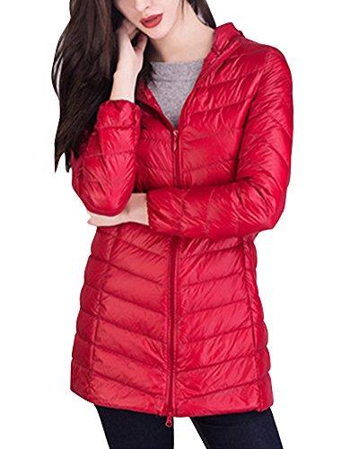 Donna Cappotto Giacche Impacchettabile Lungo Piumino Leggero Sportivo Con Cappuccio Rosso