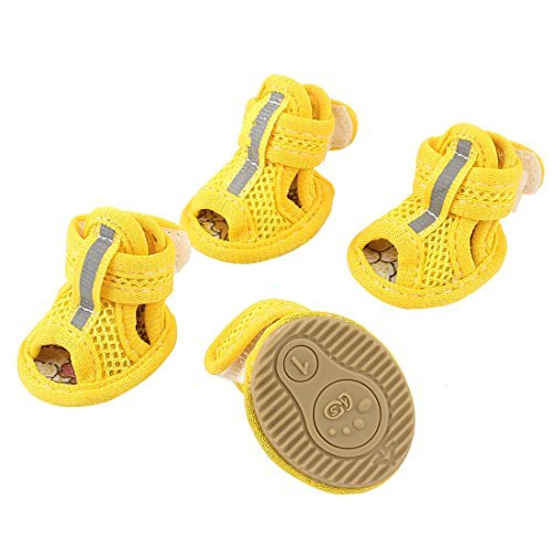 DealMux Hook Loop Closure Pet Yorkie Doggy Mesh Shoes Boots Booties Size XXS 2 Pairs Yellow (Hund Yorkie Booties)