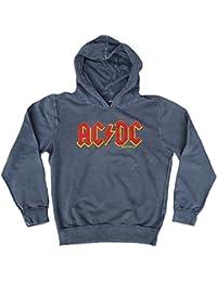 Amplified – Sudadera para Hombre con Capucha Sweater Gris Official AC/DC ACDC Logo Rock