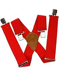 Bretelles X réglable pour Homme avec clips en métal durable ROUGE élastiques Large 50mm