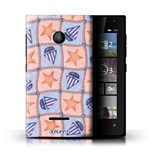 stuff4-hulle-hulle-fur-microsoft-lumia-435-pfirsich-lila-muster-boote-und-sterne-kollektion-von-penn