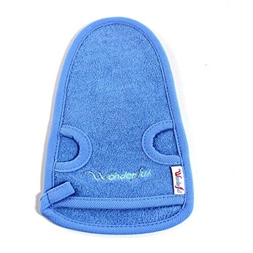 VWH 1 PC Gant Exfoliant Naturel en Bambou pour Retirer les Peaux Mortes Corps et Nettoyage en Profondeur des Pores Gant de Massage (Bleu)