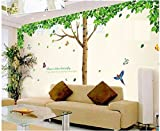 AY305 green tree with butterfly nature Wall Sticker JAAMSO ROYALS