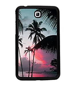 Fuson Premium 2D Back Case Cover Coconut tree With yellow Background Degined For Samsung Galaxy Tab 3 T211 P3200