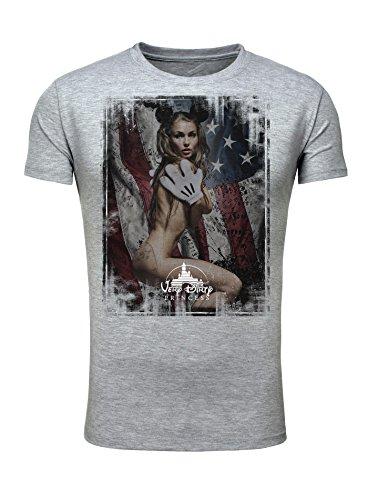 Legendary Items Herren T-Shirt Dirty Princess Sexy Girl Maus USA Vintage Verwaschen Printshirt grau (Sexy Disney Männer)