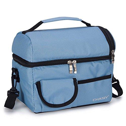 ttagessen Tasche Picknick Lunchtasche Isolierte Wärme & Cold Lunchbox mit Schultergurt für Männer/Frauen/Kinder - Blau ()
