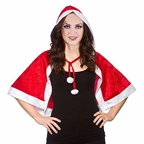 Wicked, Mrs Santa Claus, Weihnachtsmann-Umhang mit Kapuze, Rot, Weiß
