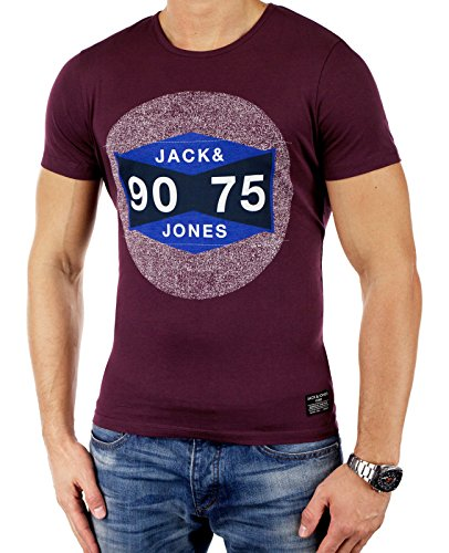 JACK & JONES Herren T-Shirt jjcoSTAY TEE SS CREWNECK Rot 75 Print (Fig Fit:SLIM)