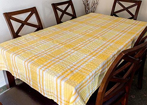 Snugglemore Seersucker 100% Cotton Tablecloth Kitchen Dining Room Garden Check Table Linen Cover (127cm x 178cm, Yellow)