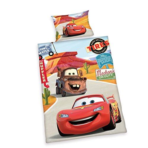 Herding 2629060063 Bettwäsche Disney's Cars, Kopfkissenbezug, 40 x 60 cm und Bettbezug, 100 x 135 cm, flanell / biber (Kleinkind Cars-bettwäsche)