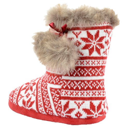 Chinelos Com Tração Sobre Norueguês Caiu Acolhedor Padrão rand Vermelho Malha De Sapatos E pompons Arte wrqAHqI