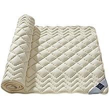 Billerbeck Recubrimiento de colchón con correas de sujeción elásticas, lana virgen, 100% lana