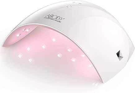 Abody Lampada Unghie UV LED da 24W per Manicure Strumento, Fornetto Unghie Portatile Professionale con Automatico Sensore, Timer da 30s, 60s per Salone con Disegno Speciale (bianco)
