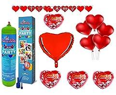Idea Regalo - Zeus Party Kit Set San Valentino-Bombola di Gas Elio da 35 Palloncini, Festone, 1 Palloncino Panda I Love You 20 Palloncini Rossi a Cuore e 5 cioccolatini Lindt Omaggio