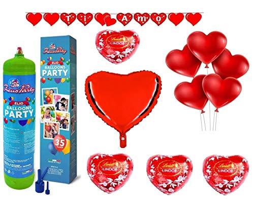 Zeus party kit set san valentino-bombola di gas elio da 35 palloncini, festone, 1 palloncino panda i love you 20 palloncini rossi a cuore e 5 cioccolatini lindt omaggio