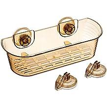 Amazon Brand - Solimo 3-Piece Suction Set (1 Bathroom Rack/Shelf, 2 Wall Hooks)