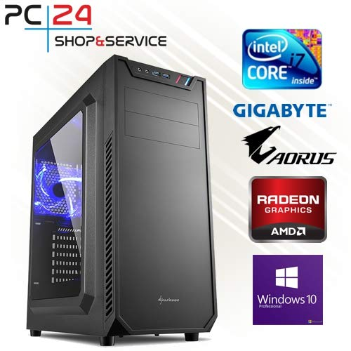 PC24 GAMING PC | INTEL i7-8700K @6x4,50GHz | 250GB M.2 970 EVO SSD | AMD Radeon RX 580 mit 8GB RAM | 16GB DDR4 PC2666 RAM | GA Z370 AORUS Ultra Gaming Mainboard | 600Watt 80+ ATX Netzteil | Windows 10 Pro | i7 Gamer PC (Black Titan Gtx)
