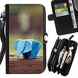 Graphic4You Elefant Origami Japanese Asian Art Design Zipper Brieftasche mit Strap Hülle Tasche Schale Schutzhülle für LG X Cam