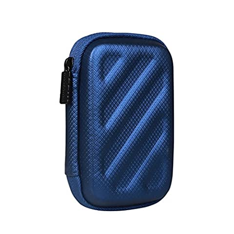 BUBM Rectangle Hard Carrying Case Storage Bag for Earphone / Headphone / iPod / MP3, Dark Blue