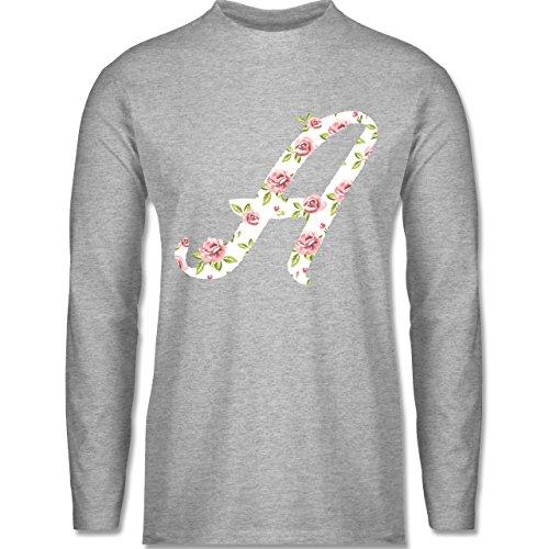 Shirtracer Anfangsbuchstaben - A Rosen - Herren Langarmshirt Grau Meliert