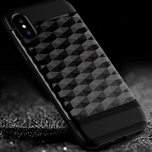 iPhone X Armor Cover, Luxury Diamond Shape Grid Pattern Texture Bumper Frame Ultra Hybrid Thin Custodia, TAITOU New Cool Ultralight Slim Anti-Drop Protect Phone Cover For iPhone X RoseGold BBlack