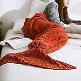 jysport fait main Couverture queue de sirène en tricot couverture en laine Toutes saisons Couverture Fish Tail Canapé couvertures Air conditionné en tricot 80 * 180 cm, Red,