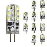mengjay, 10 X G4 LED Lampe 3.5W AC/DC 12V, Kaltweiß 6000K LED Leuchtmittel, 24 SMD Leds 360° Abstrahlwinkel