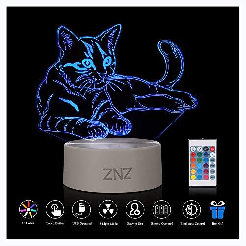 3D LED Lampe Nachtlicht - ZNZ 16 Farben USB betrieben Tisch Dimmbare Nachtlicht mit Touch-Schalter Fernbedienung für Kinder, 3D Lichter Optische Täuschungen Schreibtischlampe für Raum Dekor - Katze