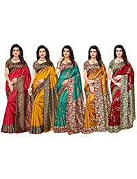 665d3afc0be Ishin silk with blouse piece Saree (Pack of 5 (Combosr-28005 Multicolor Free