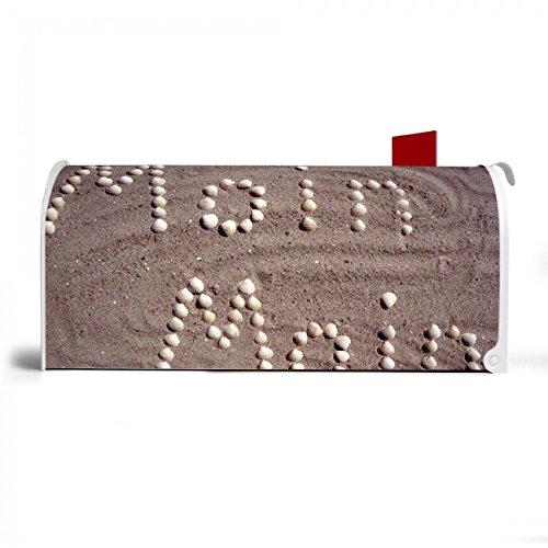 BANJADO US Mailbox | Amerikanischer Briefkasten 51x22x17cm | Letterbox Stahl weiß | mit Motiv Moin Moin, Briefkasten:ohne Standfuß - 4