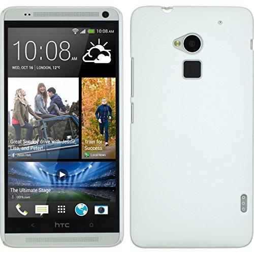 PhoneNatic Case für HTC One Max Hülle weiß gummiert Hard-case für One Max + 2 Schutzfolien