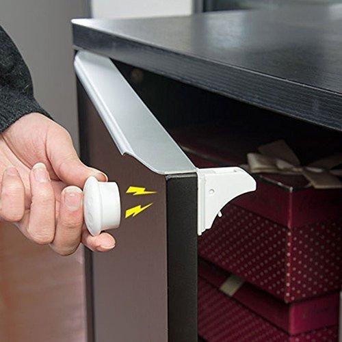 Bingone Kindersicherung Schrank Schlösser Set Magnetschlösser für Schrank & Schubladen-Kleber Einfach Installieren Keine Schrauben oder Bohren Weiß(12 Schlösser + 3 Schlüssel)