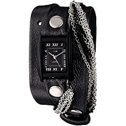 La Mer Collections Damen LMMULTICW1019-GNM Gunmetal - Carbon Chain Gunmetal/Black Armbanduhr
