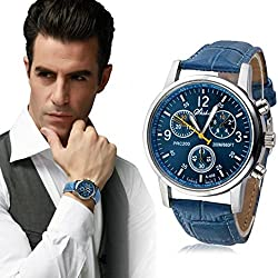 Koly® Men's Luxury Fashion Faux Leather Mens Analog Watch Wrist Watches Blue