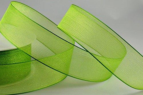 Grün Sheer Organzaband 15mm x 20m - Geschenkband Schliefenband Hochzeitsband Haarband (Grün Sheer)
