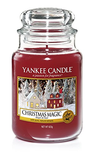 Yankee Candle Classic Glaskerze Christmas Magic, rot, 10,7 x 10,7 x 16,8 cm