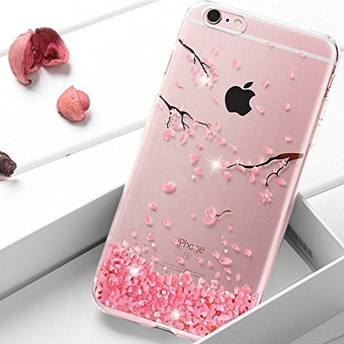 Coque iPhone 6/6S Coque en Silicone,Etsue iPhone 6/S Coque Transparente Clear View Bling Gliter Diamant Strass Brillante Pink Rose fleurs de cerisier Fleur Motif Souple Housse Etui iPhone 6/6S,Sakura