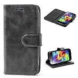 Mulbess Ledertasche im Ständer Book Case / Kartenfach für Samsung Galaxy S5 mini Tasche Hülle Leder Etui,Schwarz