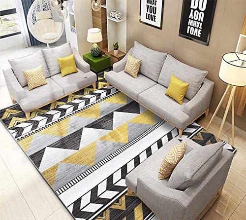 dusg Teppich Modern Trendig Pastell Geometrisches Design Schwarz-Weiß-Gelb-Grau-Geometrie 160 × 230 cm Wohnzimmer Ausgefallen Kinderteppich Farbkombination Outdoor -