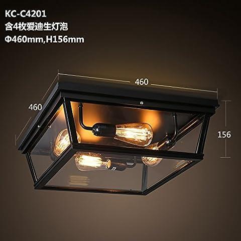 Zqww Ceiling lamp Aria Industriale-lampade arte ferro scatola di vetro quadrato di luce a soffitto American rural living room bedroom ristorante ,KC-C4201 seppia
