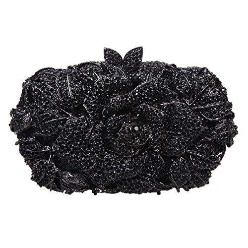 Bonjanvye Shining Studded Rhinestone Rose Flower Clutch Purses and Handbags for Ladies Champagne Black