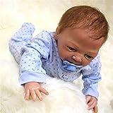 Weiche 18 Zoll Silikon Babypuppe lebensecht Reborn Babys Junge handgefertigte Puppen Spielzeug mit verwurzelt Mohair Kinder Geburtstag Weihnachtsgeschenk, braunen Augen?18 Zoll ca. 45 cm für Patienten mit Angststörungen