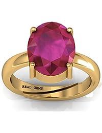 Real Gems 7.00 Ratti Natural Certified Ruby (Manik/Manak/Mankiya) Fine ADJUSTABLE Panchdhatu Ring For Men & Boys