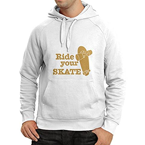 N4196H Hoodie Ride your Skate t-shirt (Large White Gold)