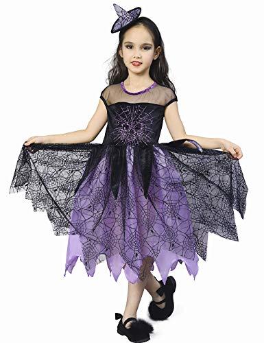 Kostüm Kinder Spider - IKALI Hexe Kostüm für Kinder Mädchen, Spider Skelett Halloween Karneval Party Kleid 4-6 Jahre