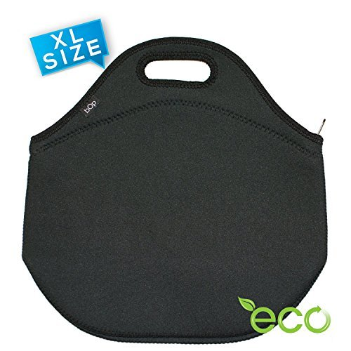 BOP Lunch Bags Insulated Neoprene Bag, X Large, Black