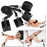 Bett Fesseln SM Fetisch Unter Bett Restraint Kit mit Handschellen Fußfesseln Bondage, Bettfessel Sexspielzeug(Schwarz)