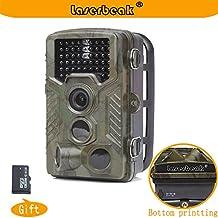 Laserbeak Trail fotocamera da 2,4 pollici LCD 12 MP 1080P HD 120 gradi lente PIR IP56 impermeabile 20m innescando 46pcs LED a infrarossi per visione notturna di caccia della fauna selvatica Monitor Protezione telecamera di sorveglianza con 8G TF
